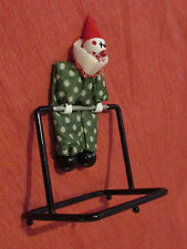 "CLOWN Perpetual Motion Relaxing Rocker Classic Toy 6""Tall Colorful Metal &Cloth"