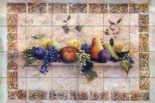 36 x 24 Art Mural Ceramic Fruits Grape Apple Tile #148