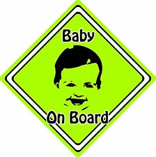 Baby/Child On Board Car Sign ~ Baby Face Silhouette ~ Neon Green
