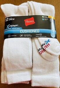 Hanes Mens Big & Tall Crew Socks Fresh IQ® X-Temp®  Size 12-14 XL White 12-Pair