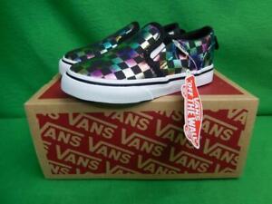 Kids Vans Asher V Iridescent Checkered Black & White Sneakers Shoes Toddler Sz 7