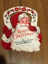ORIGINAL VINTAGE MILK BOTTLE SANTA CHRISTMAS CARD FROM SANITARY DAIRIES   MINT!