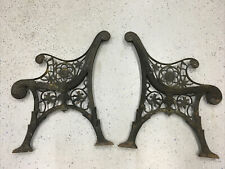 Vintage Pair of Heavy Duty Ornate Cast Iron Bench Legs Ends. Flowers