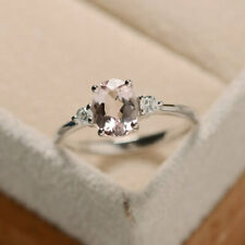 1.70 Ct Oval Cut Morganite 14K White Gold Real Diamond Wedding Ring Size R S T