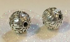 BALI .925 STERLING SILVER BRIGHT SHINY 10mm ROUND ORNATE FOCAL BEAD #1562-B (1)