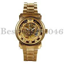 Herren uhr Luxus Golden Mechanische Automatikuhr Skelettuhr Armbanduhr Edelstahl