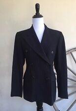 RALPH LAUREN Vintage Black Pinstripe Double Breasted Wool Blazer Suit Jacket