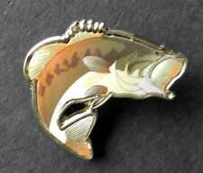 WIDE MOUTH BASS FISH FISHING PRINTED RESIN LAPEL PIN BADGE 1.25 INCHES
