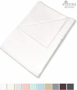 Pizuna 600 Thread Count Cotton Full Flat Sheet White 1pc, 100% Long Staple Cotto