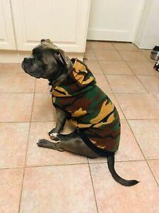 Custom Green Camo Fleece Hoodie Coat for Staffie SBT
