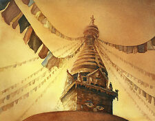 Watercolor wall print Swayambunath Buddhist stupa- Nepal.  Art print for house
