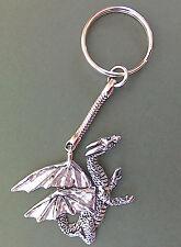Dragon Pewter Keyring, hand made in Cornwall, dragon motif size 4 x 4 cm