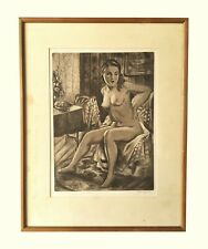 Early 20th Century Emil Ganso Original Lithograph, Seated Nude Woman