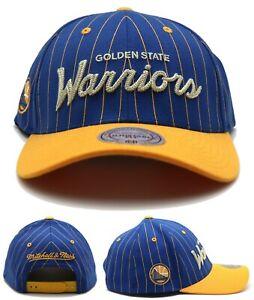Golden State Warriors New Mitchell & Ness Stripe Blue Gold Flex Snapback Hat Cap