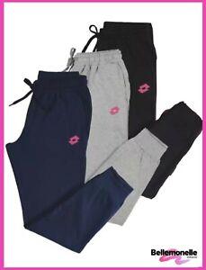 Pantalone tuta donna in cotone felpato con tasche sport fitness LOTTO sportivo