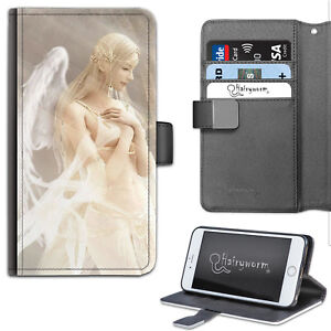 Fantasy Fairy Angel PU Leather Phone Case, Side Flip Cover For Apple/Samsung