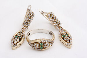 Turkish Ottoman Jewelry 925 Sterling Silver Emerald Topaz Women Set