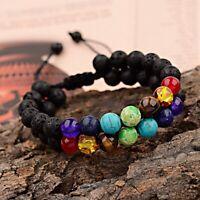 7 Chakra Yoga Natural Lava Stone Beaded Double Layer Healing Braided Bracelets