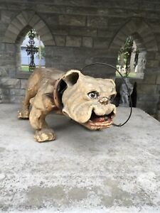 """ANTIQUE FRENCH 1890s BULL DOG PAPER MACHE GROWLER NODDER TOY LARGE 26"""" L"""