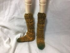 Bjd-Msd 1/4~ Pair Of Earthy Green &Amber Knitted Long Bulky Socks~Never Used!