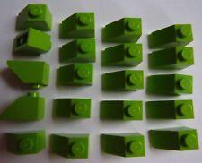 LOT DE 20 LEGO 3040 / 4537925 BRIQUE DE TOIT VERT CITRON 1 X 2/45° NEUF !