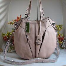 Versatile ORYANY Victoria Large Misty Rose Pebbled Leather Satchel/X-Body Bag