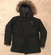 The North Face Boys Black Hooded Goose Down Padded Heavy Padded Coat Medium