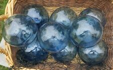 "Japanese GLASS Fishing FLOATS 3-3.5"" LOT-9 TRUE BLUE Buoy BALLS Authentic Vntg"