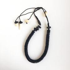 Vintage Danish Monies Gerda Lynggaard Ebony Leather Black Large Necklace Gift
