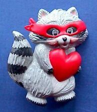 BUY1&GET1@50%~Hallmark PIN Valentines ❤️ RACCOON Mask HEART Vtg Holiday Brooch