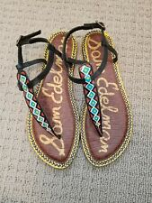 dfb9b23f2 SAM EDELMAN Gigi Black Painted Tribal Diamond Leather Thong Sandal WOMENS  SZ 8