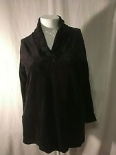 EUC VICTORIA'S SECRET BLACK VELOUR SIZE MEDIUM V-NECK COLLAR L/SLV LOUNGE SHIRT