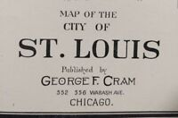 "Vintage 1902 ST LOUIS MISSOURI Map 22""x14"" Old Antique Original LAFAYETTE SQUARE"