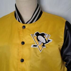 PITTSBURGH PENGUINS NHL Yellow w' Black Nylon Bomber Snap Front Jacket Large L