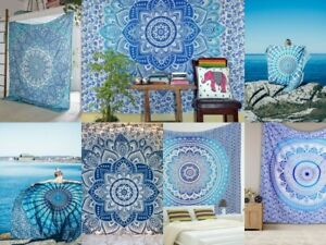 Ombre Mandala Cotton Twin Size Bedcover Ethnic Indian Wall Hanging Tapestry Boho