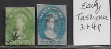 Tasmania Early Stamps #2p and #4p from 19th Century Brown Scott Album