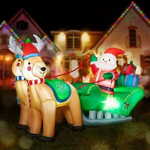VIVOHOME 7FT Inflatable LED Santa Claus Reindeers W/ Sleigh Christmas Yard Decor