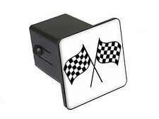 """Double Checkered Flag - Racing- 2"""" Tow Trailer Hitch Cover Plug Insert"""