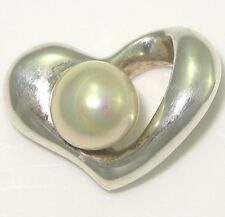 VTG Sterling Silver/925 3D Puffy Heart Faux Pearl Barra Pendant/Charm 5.3g LDH9