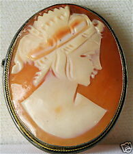 Genuine Shell Cameo Pin Vintage Antique 800 Silver