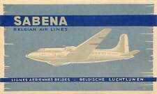 SABENA BELGIAN AIRLINES GREAT VINTAGE AVIATION LUGGAGE LABEL