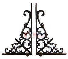 Set 2 Fleur De Lis Rustic Cast Iron Brackets Braces Doorway Accent Antique Style