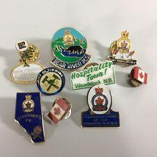 Legion Pins Regional Canadian Lot 8- Set of 9 Pins Plus Timmins Woodstock Flags