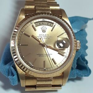 Rolex Day-Date President 36 mm Spanish Day 18K Yellow Gold Watch 18238 Year 1996