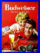 """1958 Budweiser Beer The King's Credentials Original Print Ad 8.5 x 11"""""""