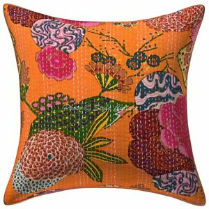 "Indian Kantha Cotton Cushion Cover Vintage Bedding Sofa Pillow Case 16"" Throw"
