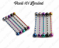 Surgical Steel Anodized DUO STRIPE Industrial Scaffold Ear Piercing Bar Barbell