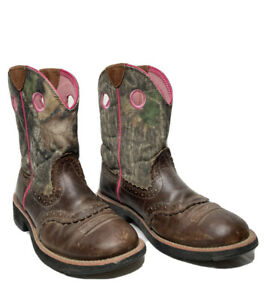 Ariat Boots Women's Size 8.5 Fat Baby Camo Pink Pull On Leather