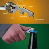 Keychain Camping Hiking 8 in 1 Outdoor Survival Gear Tool opener Bottle Mul A7Y6