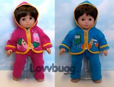 "Both Pink & Blue Pants & Hoodie Outfits for Baby Twins 15"" Doll Clothes"